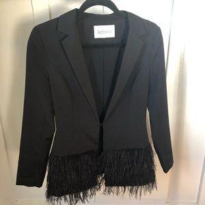 Black Blazer with Feathers
